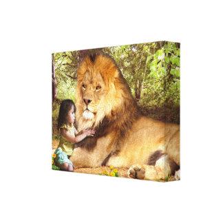 Leão e menina