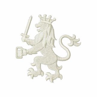 Leão heráldico real com caneca de cerveja camiseta bordada polo