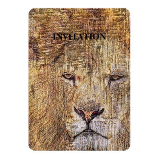 Leão majestoso dos animais selvagens animais do convite 12.7 x 17.78cm