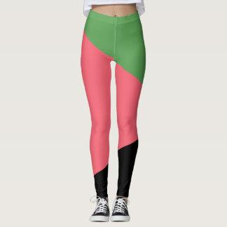 Legging Abstracto Verde/Recortar/Preto