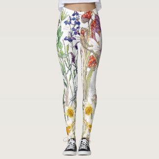 Legging Açafrão do Daffodil da íris floral por todo o lado