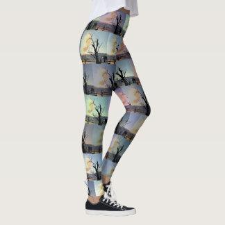 Legging Arte abstracta das árvores de goma,