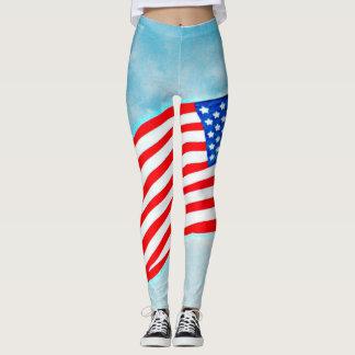 """Legging As caneleiras """"bandeira americana"""" das mulheres no"""