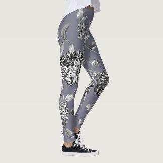 Legging Azul floral moderno preto & branco do Mulberry de