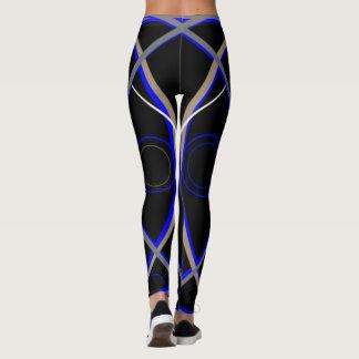 Legging Caneleiras #15 azuis e cinza no preto
