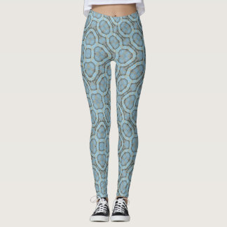 Legging Caneleiras azuis do Hippie do leopardo