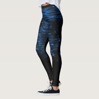 Legging Caneleiras azuis e pretas do teste padrão do