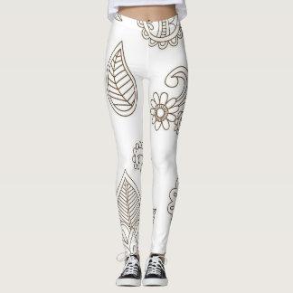 Legging Caneleiras Brown do Henna e branco