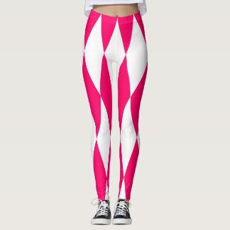 Legging Caneleiras cor-de-rosa e brancas dos diamantes