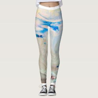 Legging Caneleiras de mármore azuis da forma do inverno de
