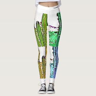 Legging Caneleiras do cacto do pop art das mulheres