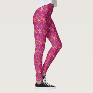 Legging Caneleiras magentas do ouro