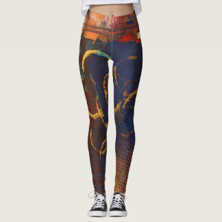 Legging Caneleiras multicoloridos da arte abstracta -