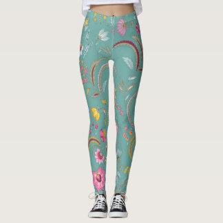Legging Chintz floral - Aqua claro