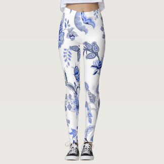 Legging Chintz - floral azul no fundo branco