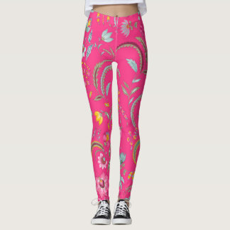 Legging Chintz floral - rosa brilhante