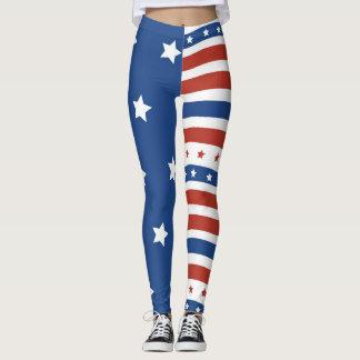 Legging Design do patriota das listras das estrelas da