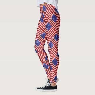 Legging Design metálico da bandeira americana