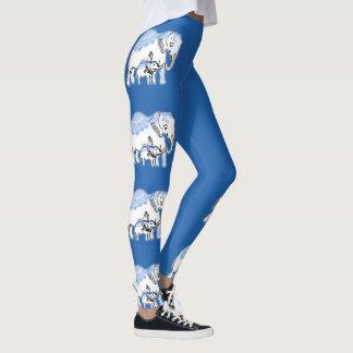 Legging Elefantes ornamentado azuis e caneleiras de