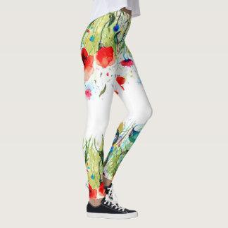 Legging Flores coloridas da aguarela
