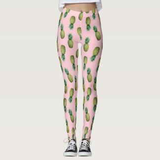 Legging Leggins cor-de-rosa dos abacaxis tropicais do