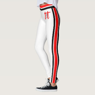 Legging Listras vermelhas/pretas no branco