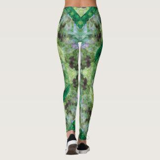 Legging Mandala romântica/verde/lavanda do jardim do
