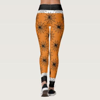 Legging Preto e laranja da Web de aranha do Dia das Bruxas