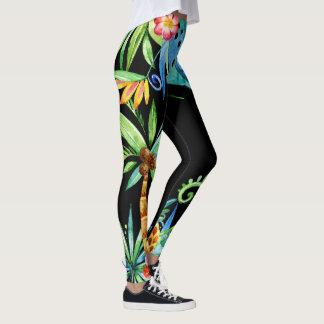 Legging Preto exótico floral tropical
