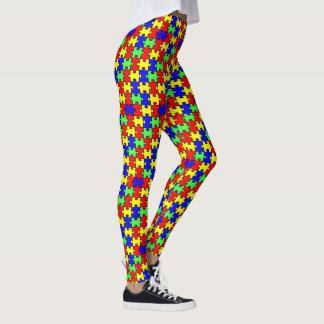 Legging Quebra-cabeça colorido da consciência do autismo