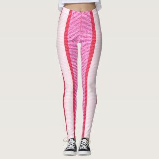 Legging Teste padrão cor-de-rosa da textura das listras
