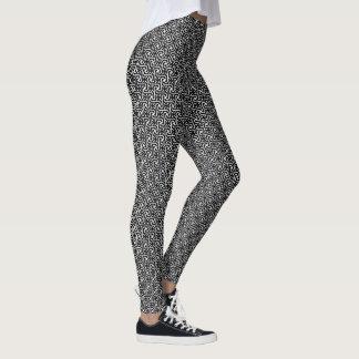 Legging Teste padrão egípcio do azulejo, preto e branco
