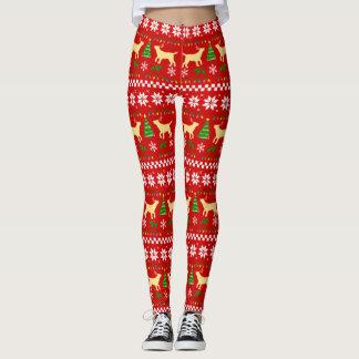 Legging Teste padrão feio do Natal dos Antlers amarelos de