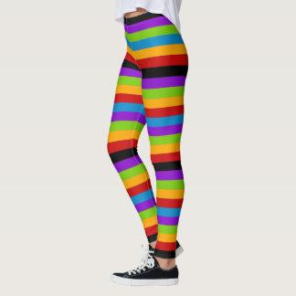 Legging Toque da listra preta do arco-íris