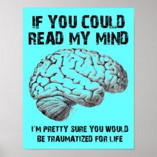 Leia meu sinal engraçado do poster da mente