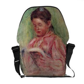 Leitura da mulher (óleo em canvas) bolsa mensageiro