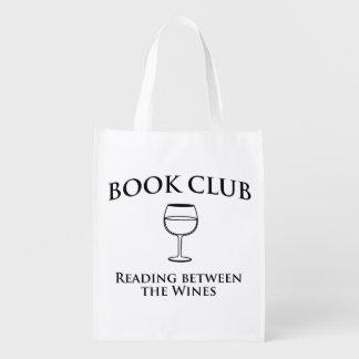 Leitura do clube de leitura entre os vinhos sacola ecológica para supermercado
