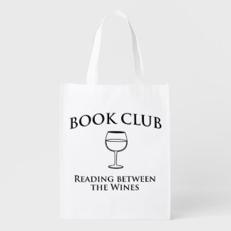 Leitura do clube de leitura entre os vinhos sacolas ecológicas para supermercado
