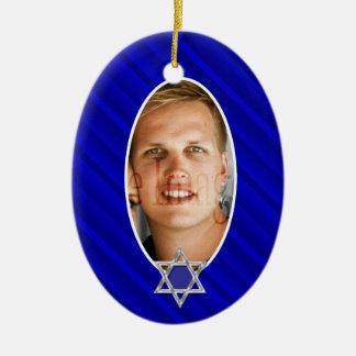 Lembrança azul da foto do mitzvah do bar ornamento de cerâmica oval