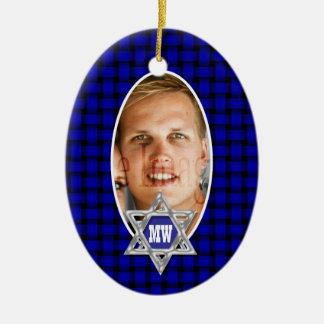 Lembrança azul da foto do mitzvah do bar enfeites de natal