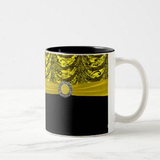 Lembrança barroco drapejada amarela & preta canecas