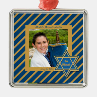 Lembrança da foto de Mitzvah do bar Ornamento Quadrado Cor Prata