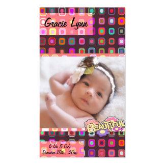 Lembrança da foto do bebé modelos cartoes de visita