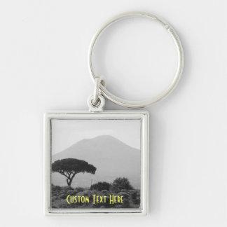 Lembrança de Italia do vulcão do Monte Vesúvio Chaveiro Quadrado Na Cor Prata