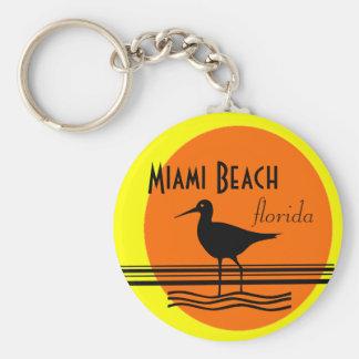 Lembrança do por do sol de Miami Beach Chaveiro