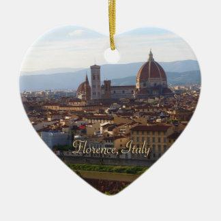 Lembrança do viagem de Florença Italia Ornamento De Cerâmica Coração