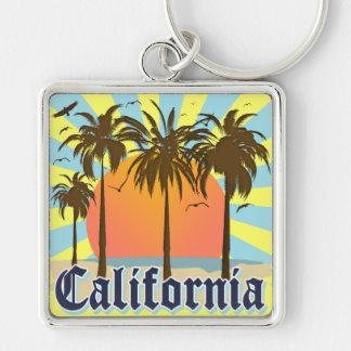 Lembrança do vintage de Califórnia Chaveiro Quadrado Na Cor Prata