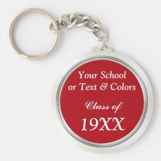 Lembranças da reunião de classe, nome da escola, chaveiro