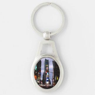 Lembranças de New York do Times Square da corrente Chaveiro Oval Cor Prata