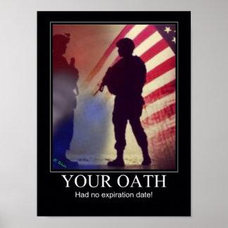 Lembrete militar do juramento posters
